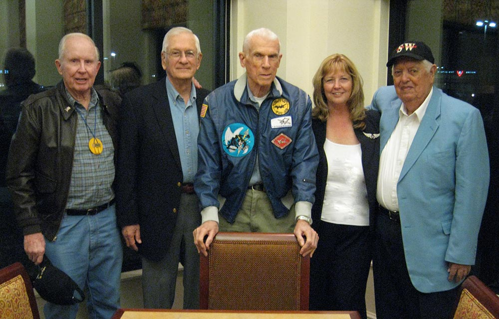 "Photo taken in 2009 at the Lockheed Managment Club P-38 pilot symposium in Lancaster, CA. Left to right: ""Fox"" Olson, Joe Onesty, John Hedenberg, Dayle DeBry and Tom ""Ox"" Oxford."