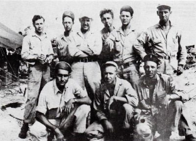 "Some of the ""Line."" 433rd enlisted men who labored long and hard to keep the Lightnings in combat. (Anderson Collection)"