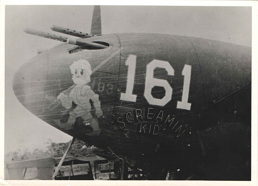 "Nose of John Loisel's #161 ""Screamin Kid."" Note helmet plume drawn into the machine gun Port. Credit: Krane Collection."