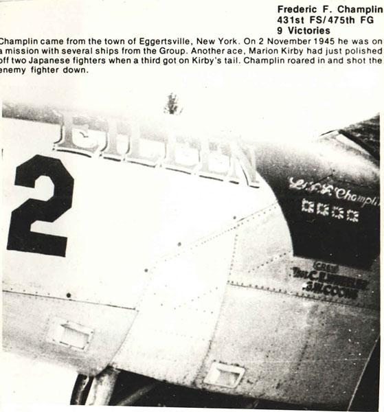 Frederic F. Champlin - 431st FS/475th FG - 9 Victories